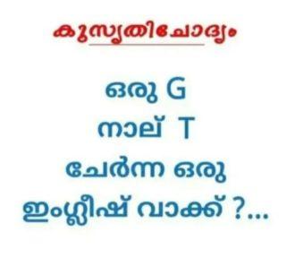 ഒരു G  നാല് T ചേർന്ന ഒരു ഇംഗ്ലീഷ് വാക്ക് | with Answer